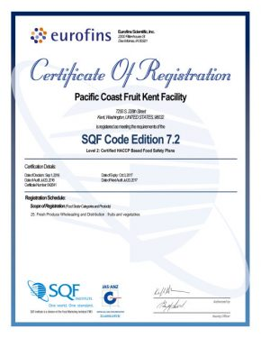 SQF Level 2 Certificate Kent
